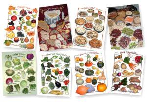 Posters de Alimentos Naturales (9x12) - Variedad - juego Completo de 8